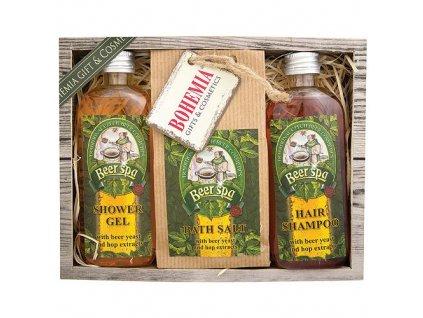 Bohemia Gifts Beer Spa pivní kosmetická sada – gel 100 ml, sůl 150 g a šampon 100 ml