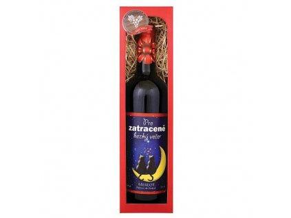 Bohemia Gifts Dárkové červené víno 0,75 l Merlot - Pro zatraceně hezký večer