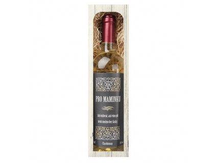 Bohemia Gifts Dárkové bílé víno 0,75 l pro maminku - Chardonnay