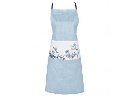 Clayre & Eef - Kuchyňská zástěra  s modrými květy a ptáčkem - 70*85 cm
