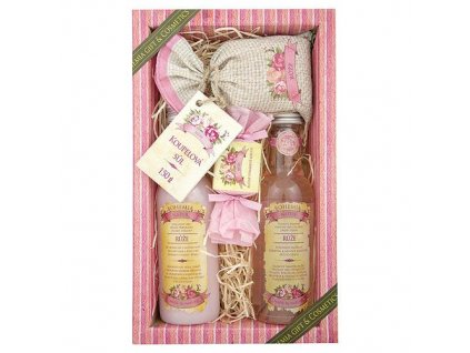 BN - Dárková sada prémiové kosmetiky růže /sprchový gel 200 ml, vlasový šampon 200 ml, koupelová sůl 150 ml, mýdlo/