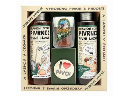 Bohemia Gifts Pivrnec kosmetická sada gel, šampon, mýdlo a button