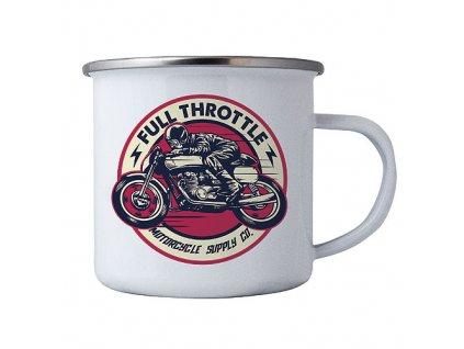 Bohemia Gifts Plechový smaltový hrnek s obrázkem – motorka - full trottle