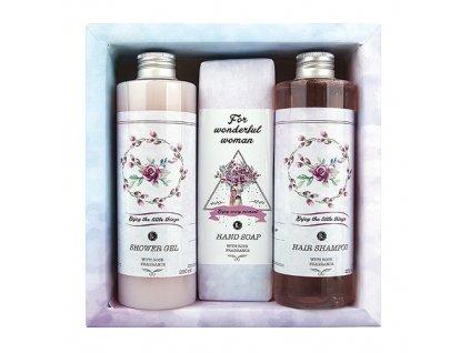 Bohemia Gifts Boho Style kosmetická sada růže - gel, mýdlo a šampon