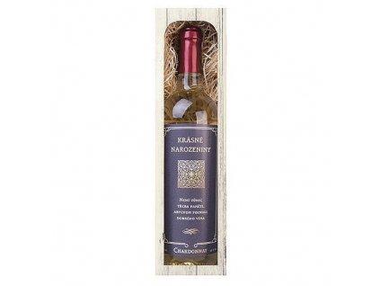Bohemia Gifts Dárkové bílé víno 0,75 l k narozeninám Chardonnay