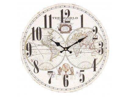 Clayre & Eef - Nástěnné hodiny The World - Ø 34*3 cm / 1*AA