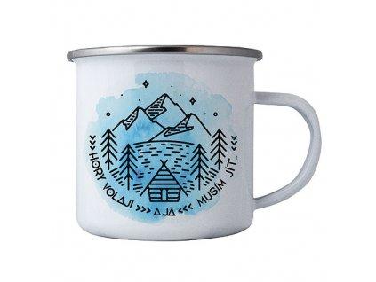 Bohemia Gifts Plechový smaltový hrnek pro cestovatele - hory