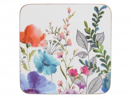 Creative Tops - Korkové podložky pod skleničky Meadow Floral /10,5*10,5 cm/ - 6 ks v sadě