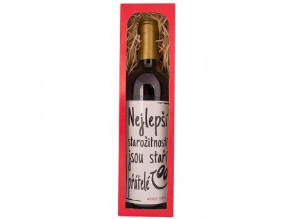 Bohemia Gifts Dárkové červené víno 0,75 l Merlot – Staří přátelé
