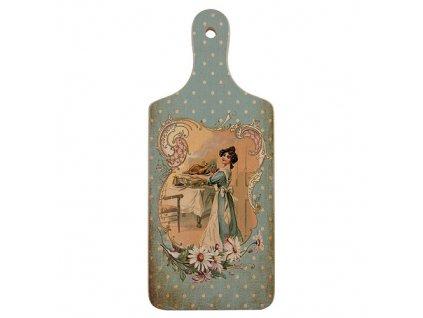 Bohemia Gifts Dekorační kuchyňské prkénko 28 cm – dáma v modrém