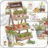 Korkové prostírání pod skleničky Happy Farm, poličky Vegetable a Organic, malé - /10,5*10,5 cm/ - 4 ks