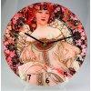 """Nástěnné hodiny v dekoru A. MUCHA """"Květy"""" - 30 cm"""