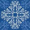Dezertní třívrstvé ubrousky Pattern tile blue, 20 ks