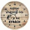 Dřevěné hodiny 24 cm pro rybáře - Nejlepší strávený čas je na rybách