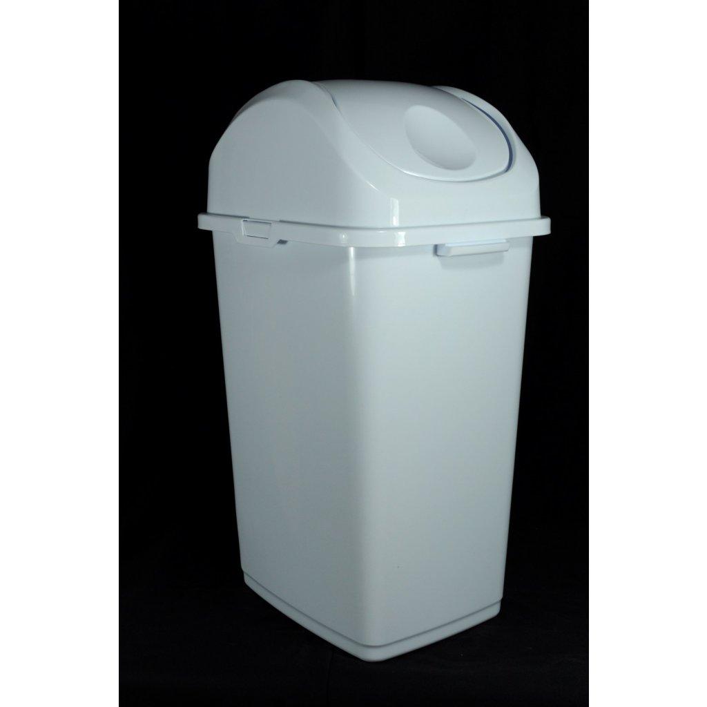 Odpadkový kôš úzky sklopka 50litrový, Dunya (Farba Biela, Veľkosť Neurčená)