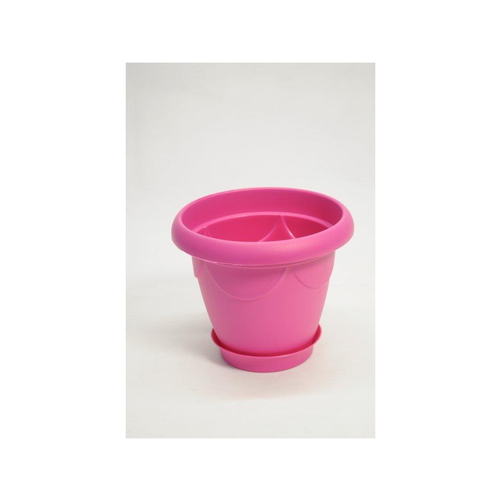 Plastový kvetináč s tanierikom – malý 3.5l (Farba Zelená, Veľkosť Neurčená)
