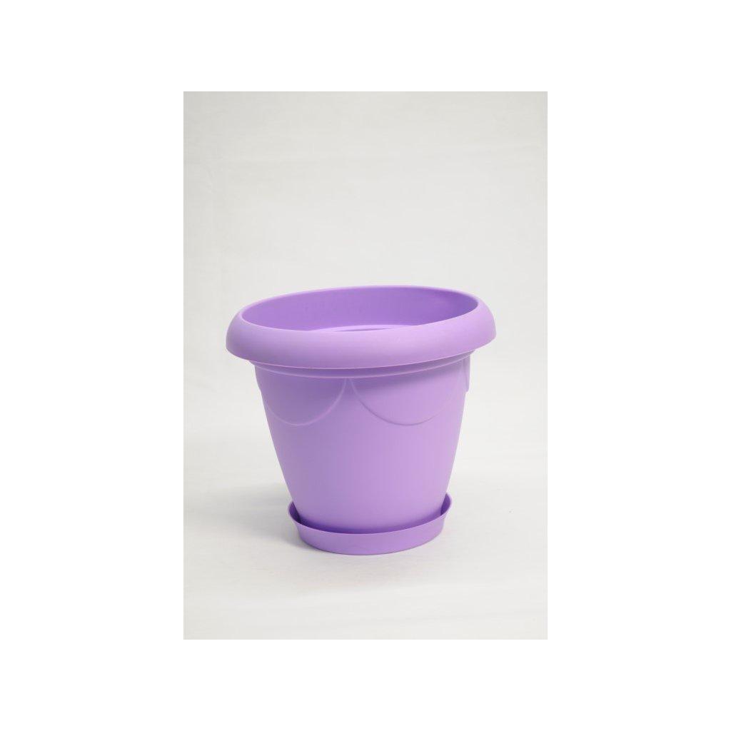 Plastový kvetináč s tanierikom  9.5L (Farba Svetlofialová, Veľkosť Neurčená)