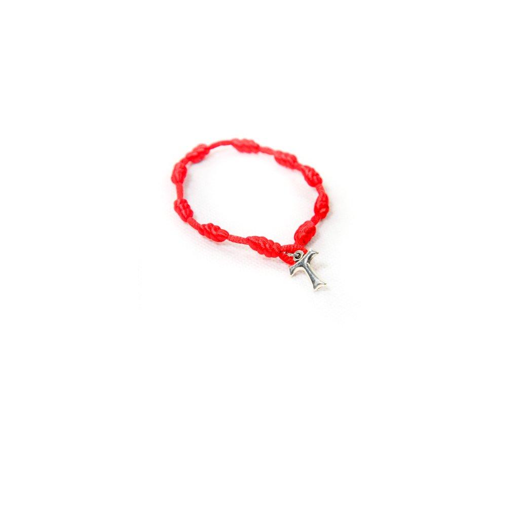 Zapletaný červený náramok s krížikom (Farba Červená, Veľkosť Neurčená)