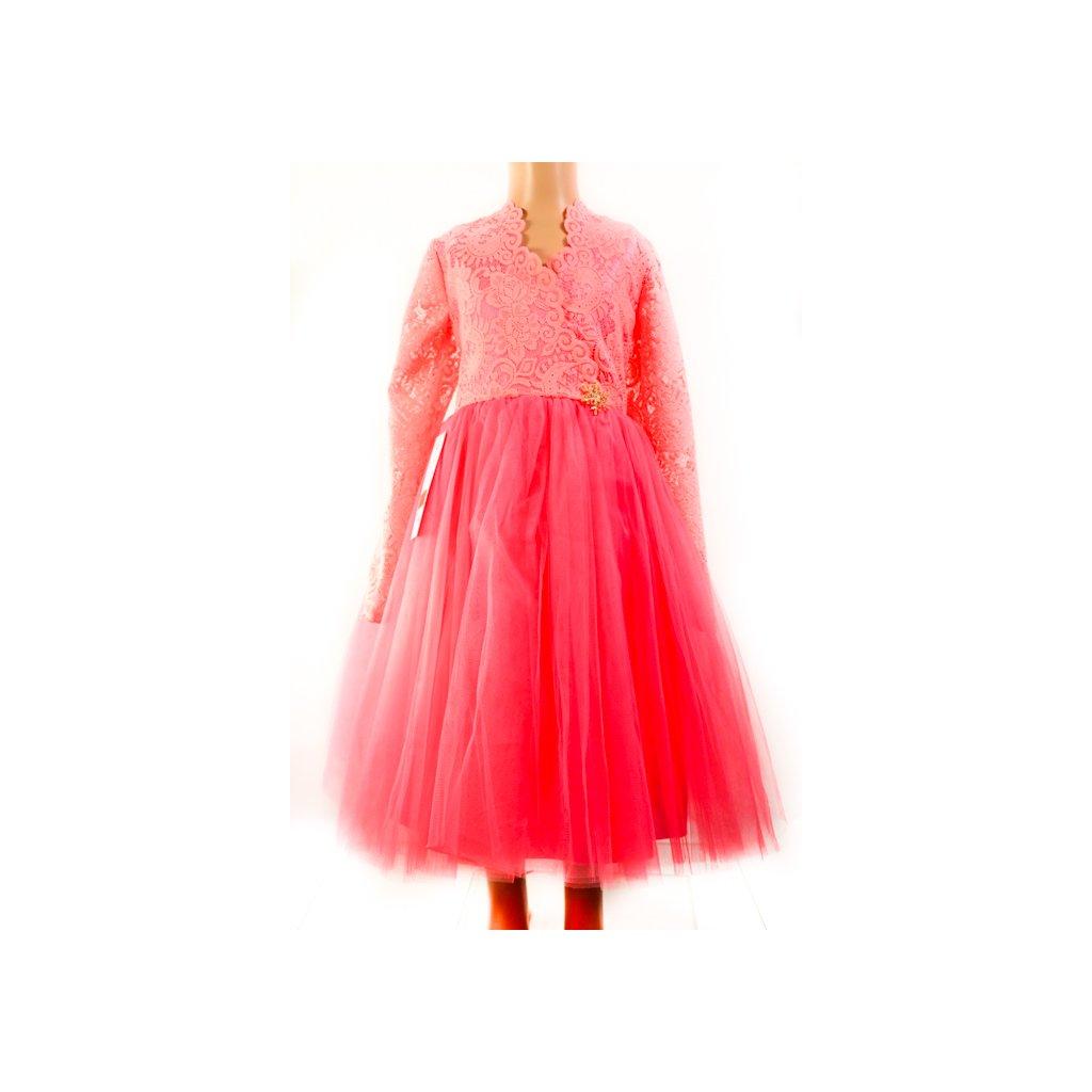 Dievčenské šaty - čipkované s vločkou (Farba Ružová, Veľkosť 128)