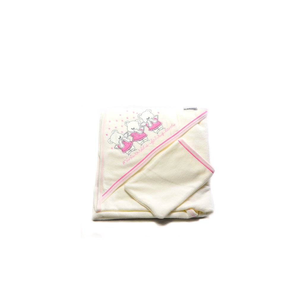 Detský kojenecký uterák - 3 mackovia 90x90cm, Haknur (Farba Svetloružová, Veľkosť 90x90cm)