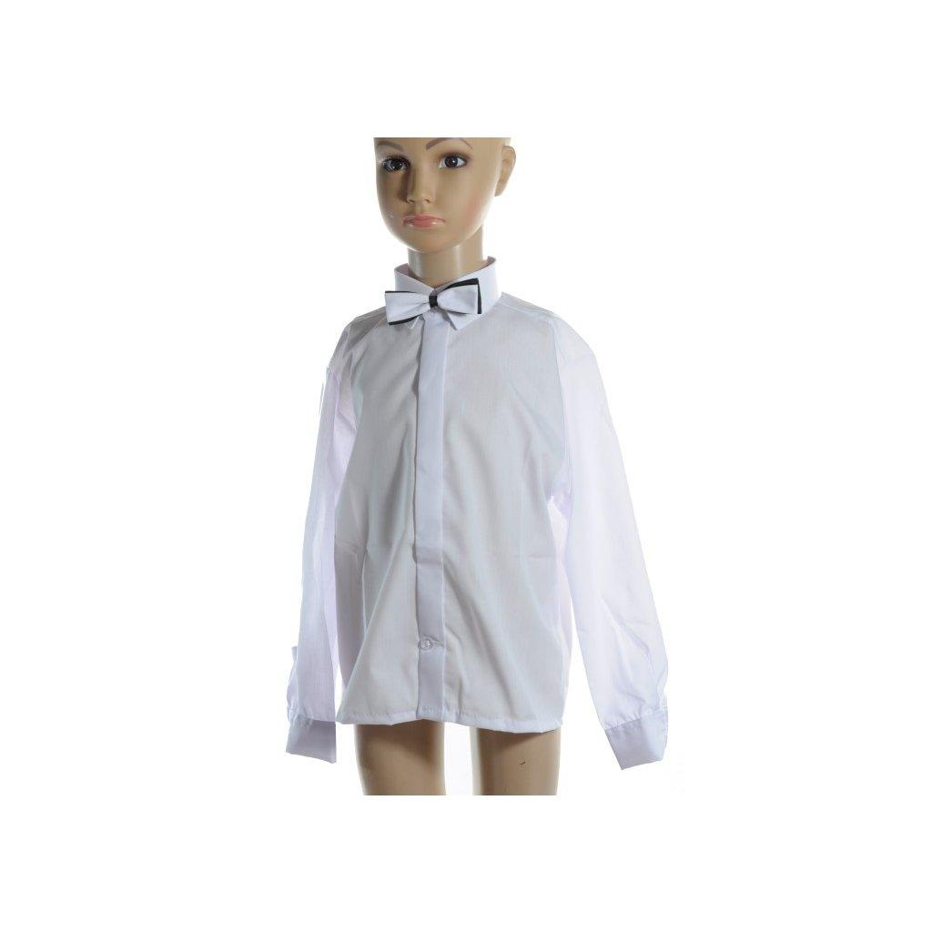 Detská košeľa s motýlikom 140 - 152 (Farba Biela, Veľkosť 140)