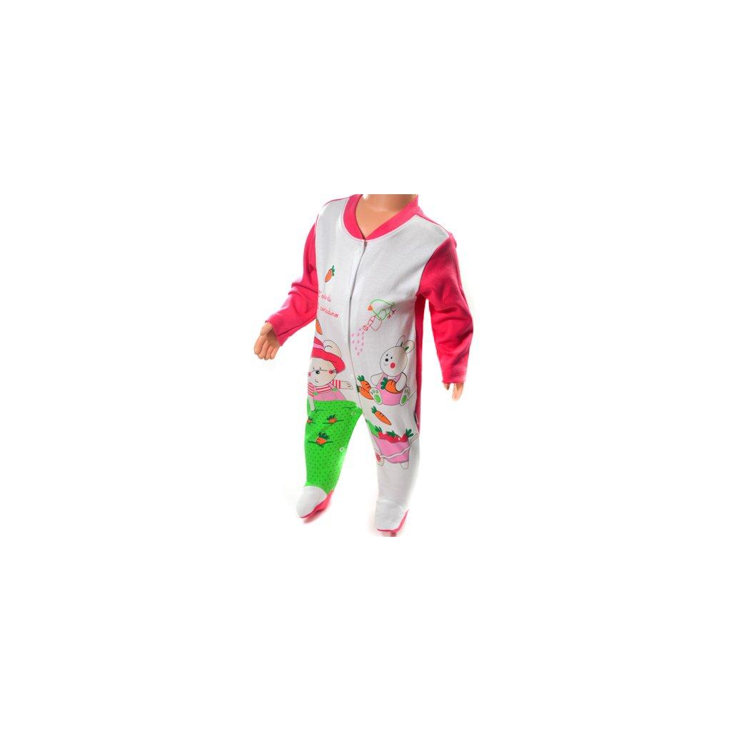 Detské dupačky - macko a zajo (Farba Ružová, Veľkosť 3m)