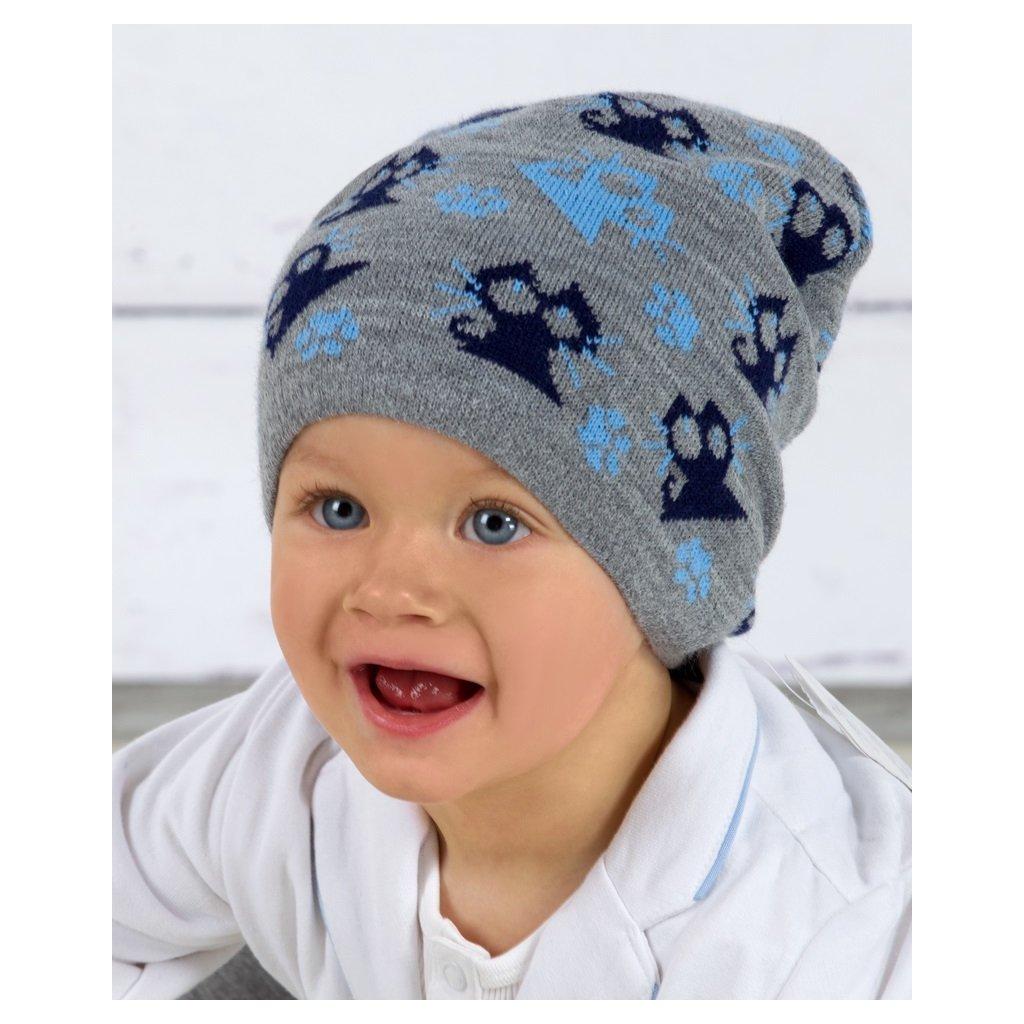"""Detská čiapka """"Mačička"""" šedá (Farba Tyrkysová, Veľkosť 46-48)"""