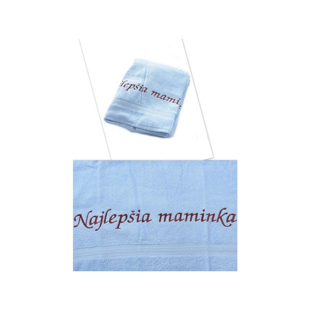 Osuška Najlepšia maminka - modrá 70x140cm, PoloTrade (Farba Modrá, Veľkosť 70x140cm)