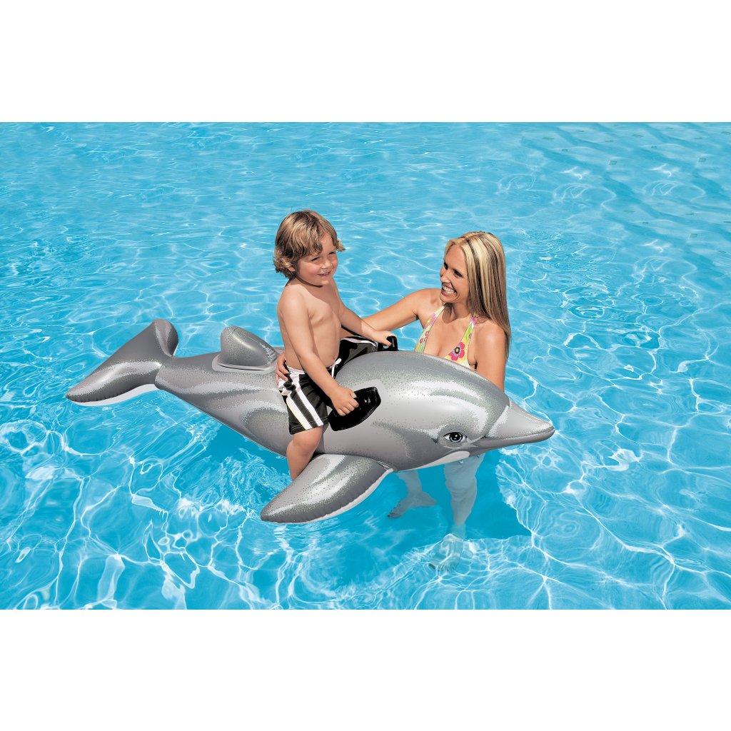 Nafukovačka delfín 175*66cm (Farba Šedá, Veľkosť 175x66cm)