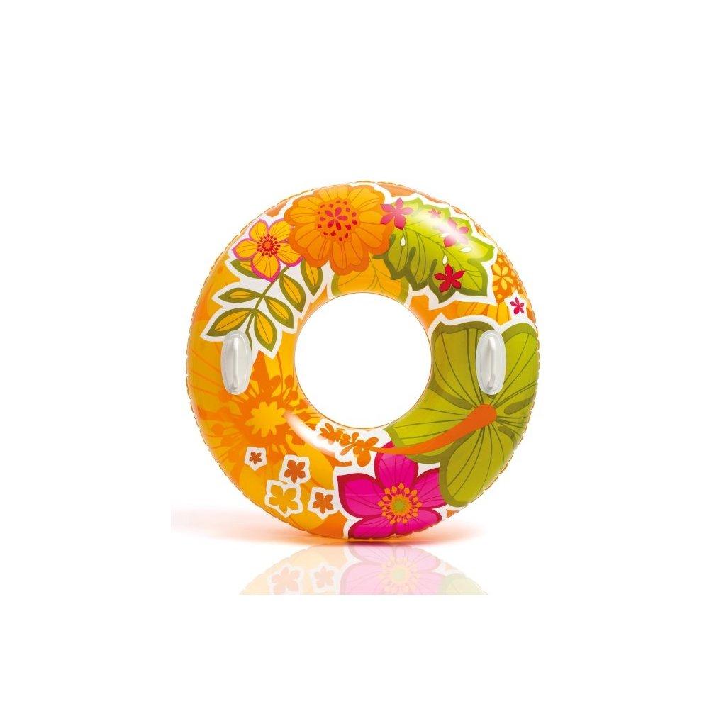 Intex Plávacie koleso Intex s držiakmi 91cm, vzor listy a kvety (Farba Oranžová, Veľkosť 97)