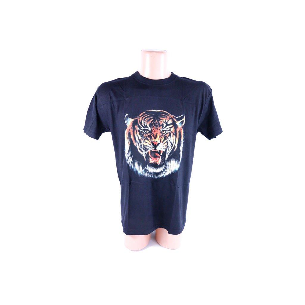 Čierne bavlnené tričko PoloTrade vzor zúrivý tiger (Farba Čierna, Veľkosť S)