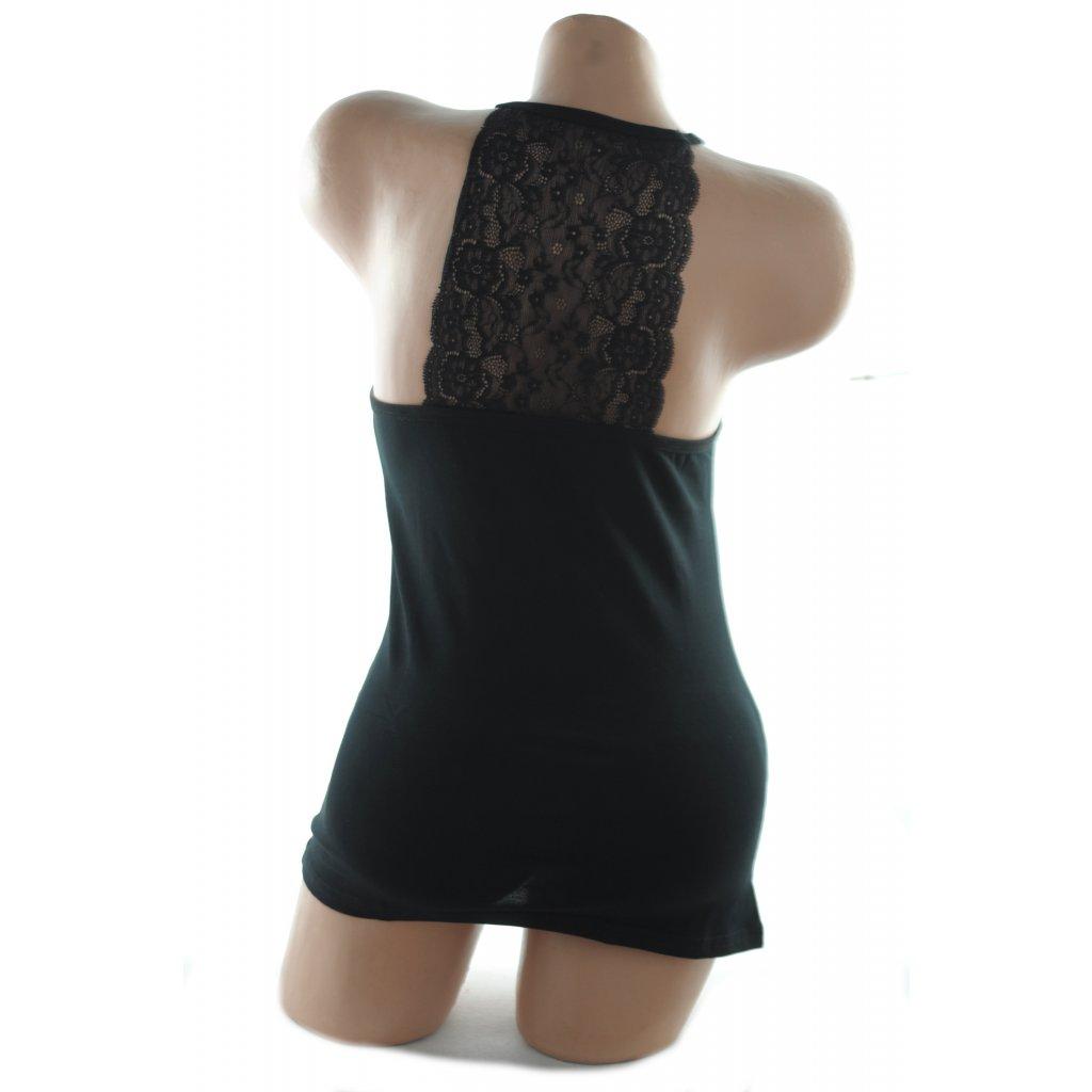 Dámske tielko - čipka na chrbte (Farba Čierna, Veľkosť XL)