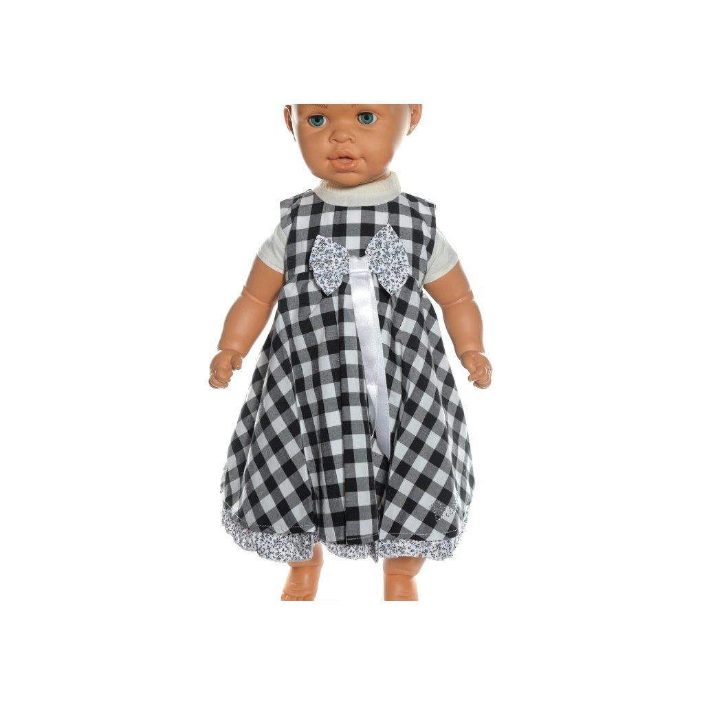 Baby šaty - kockované s mašlou (Farba Čierna, Veľkosť 86)