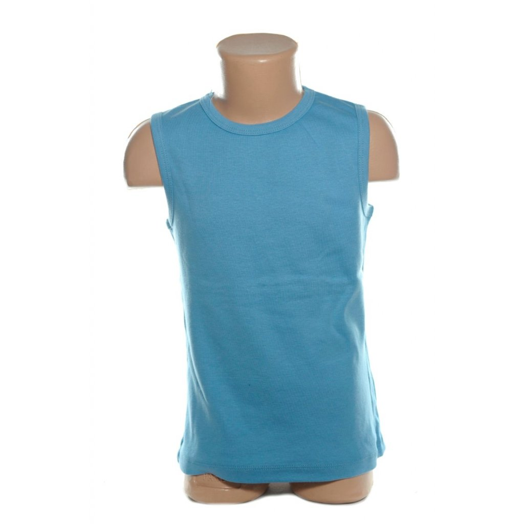 Detské tielko - bez rukávov s hrubými ramienkami. (Farba Svetlomodrá, Veľkosť S)
