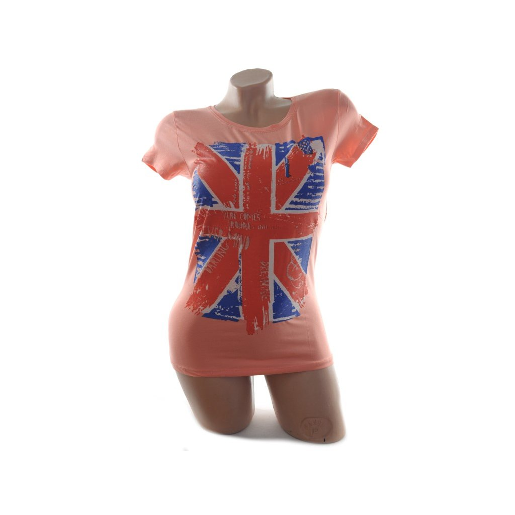 Dámske tričko - England, kratky rukav . (Farba Tmavoružová, Veľkosť S/M)