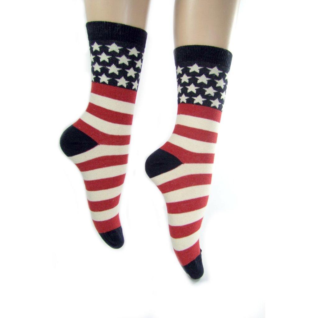 Ponožky- hrubé pásy stars stripes (Farba Ružová, Veľkosť 36-41)