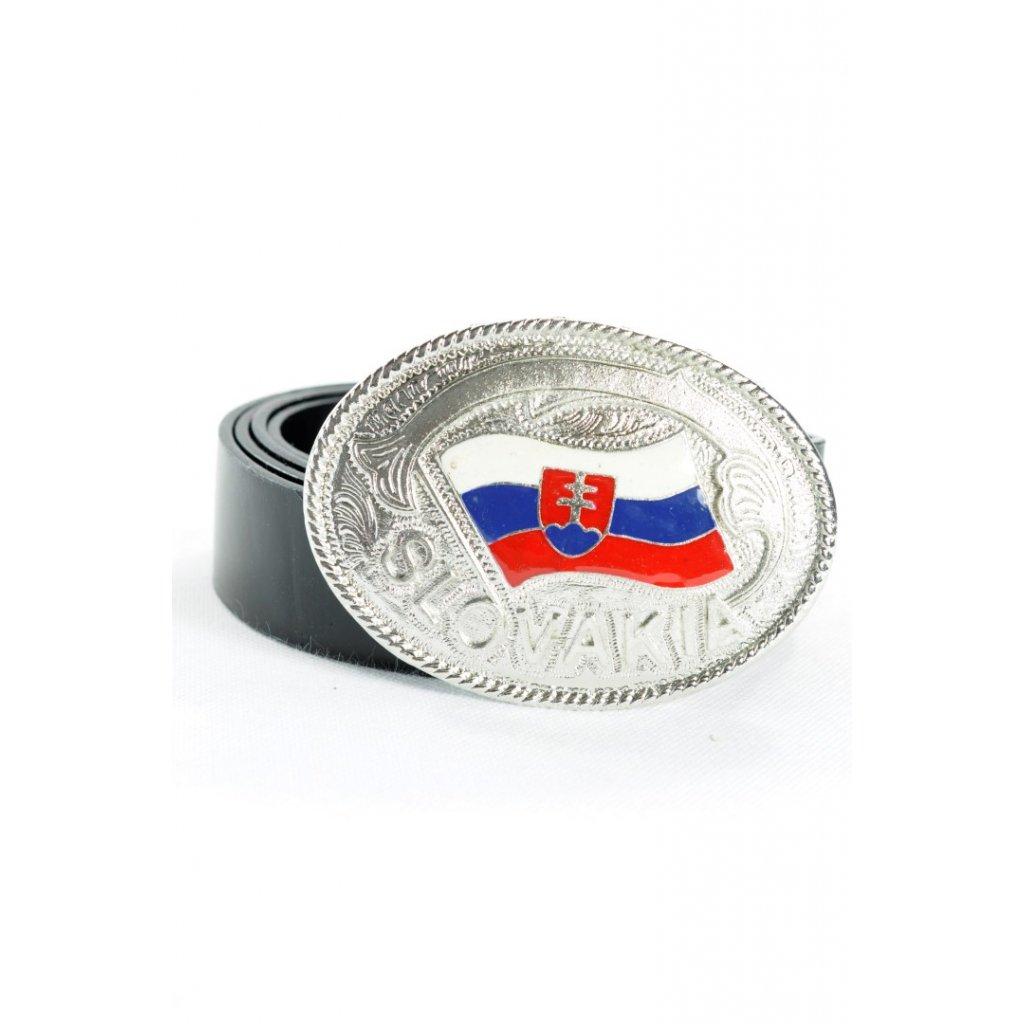 Koženkový opasok SLOVENSKO svk 138cm (Farba Čierna, Veľkosť 138cm)