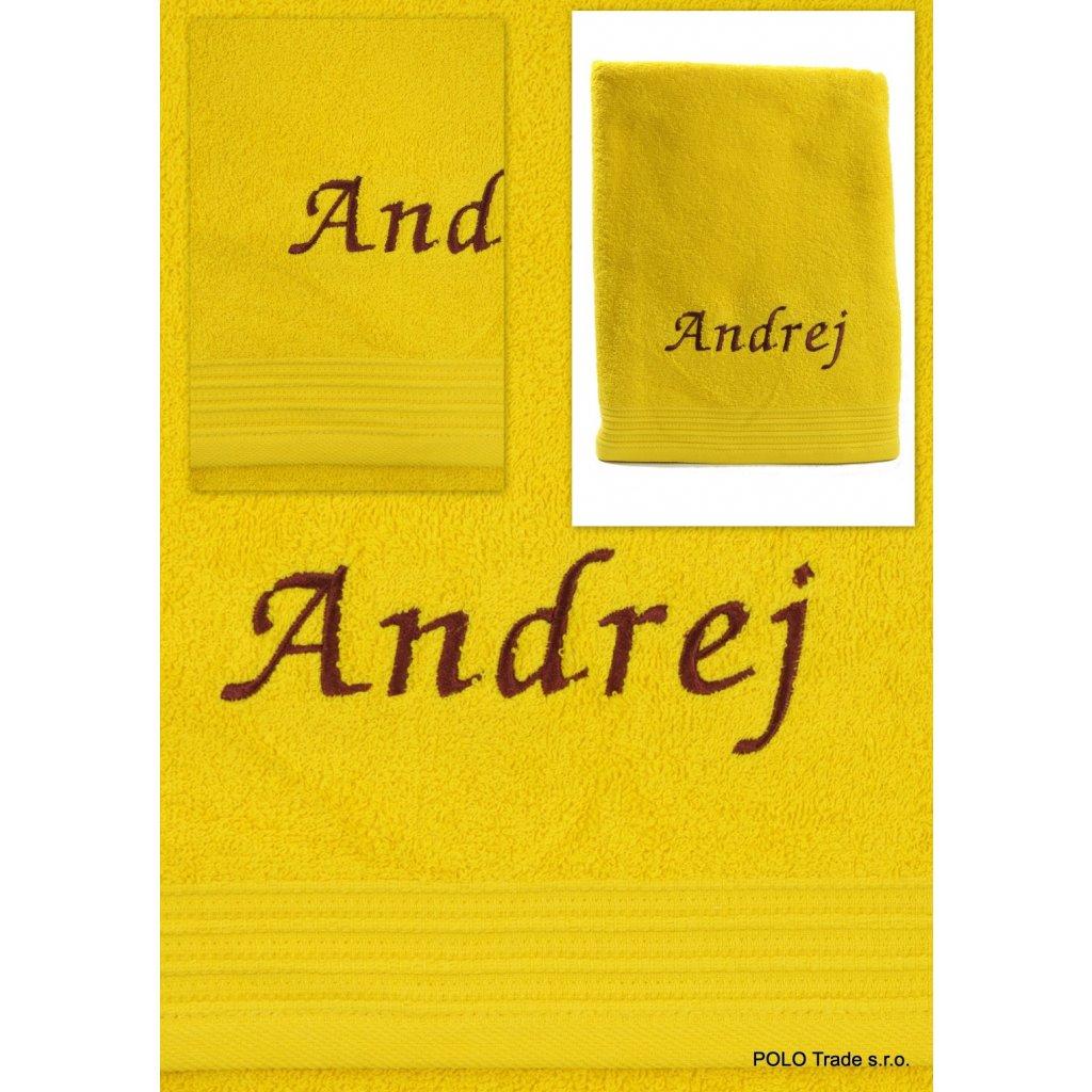 Osuška s menom Andrej 70x130cm, PoloTrade (Farba Svetložltá, Veľkosť 130x70cm)