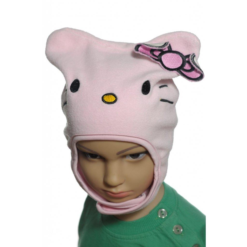 Čiapka Hello Kitty s mašľou (Farba Svetloružová, Veľkosť 50)