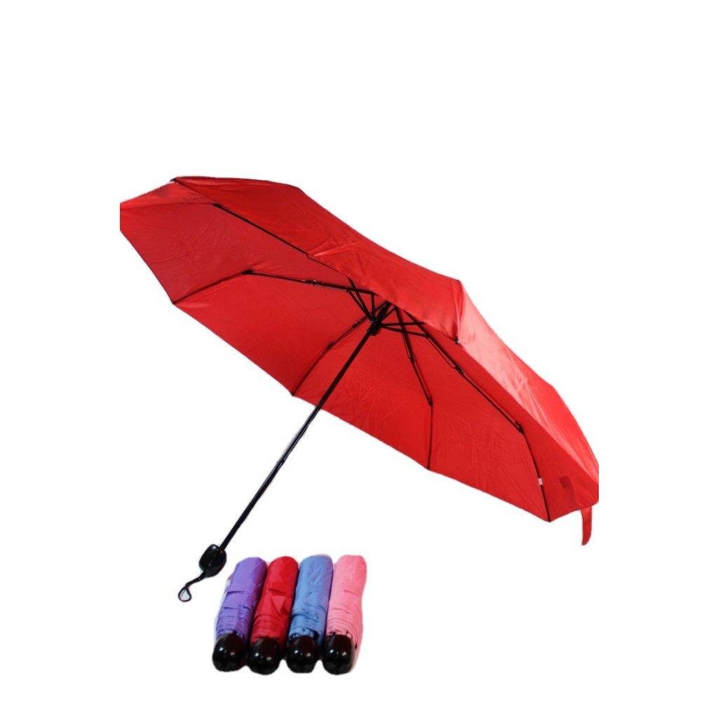 Skladací automatický dáždnik, jednofarebný, guľatá rúčka, 25cm (Farba Modrá, Veľkosť 25cm)