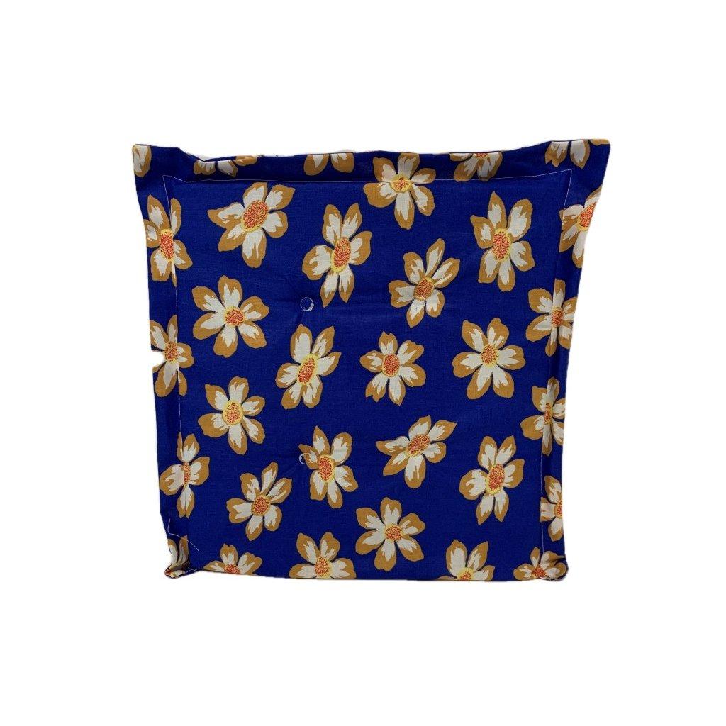 Obojstranný sedák modrý-kvety, PoloTrade (Farba Modrá, Veľkosť 1762 - 42*42*2)