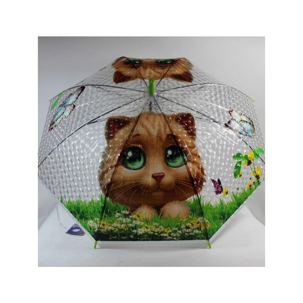Detský dáždnik mačka 66cm (Farba Zelená, Veľkosť 66cm)