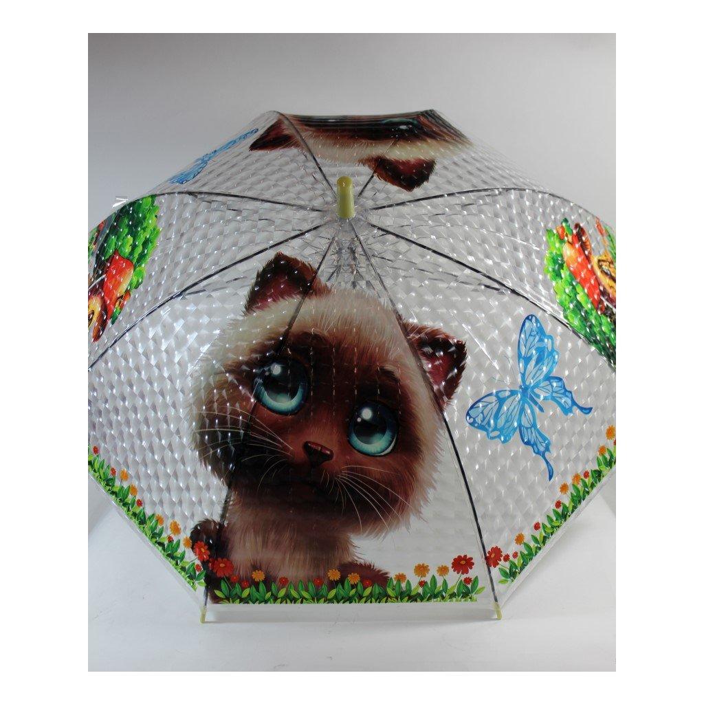 Detský dáždnik mačka hríbik 66cm (Farba Svetložltá, Veľkosť 66cm)
