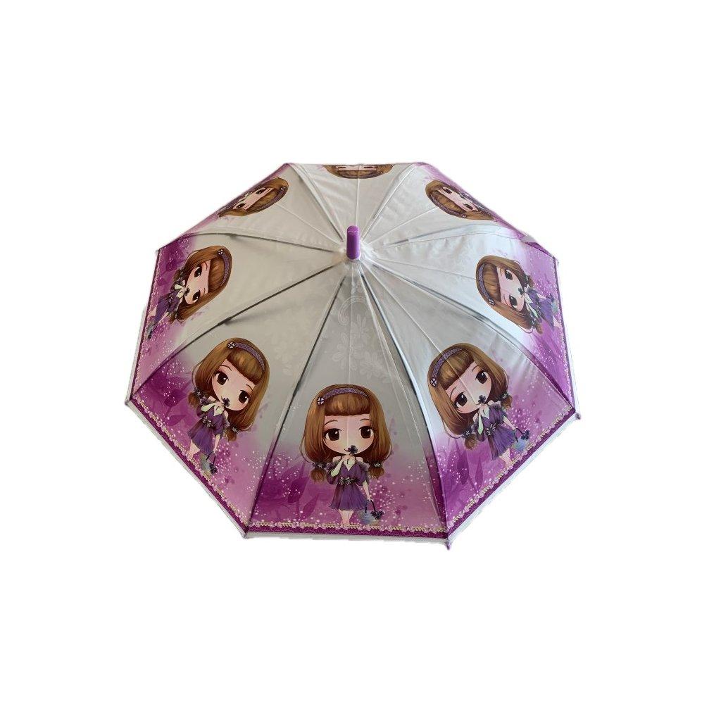 Dáždnik detský dievča s dvomi copmi P66cm (Farba Svetlofialová, Veľkosť 66cm)