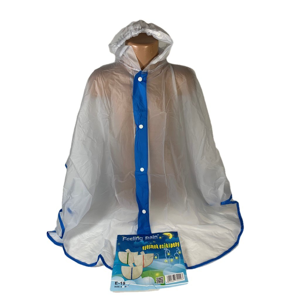 Detský pršíplašť - pončo transparentný, PoloTrade (Farba Modrá, Veľkosť 6r)