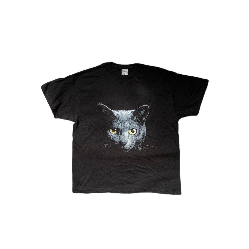 Tričko PoloTrade Mačka, obojstranná potlač (Farba Čierna, Veľkosť S)