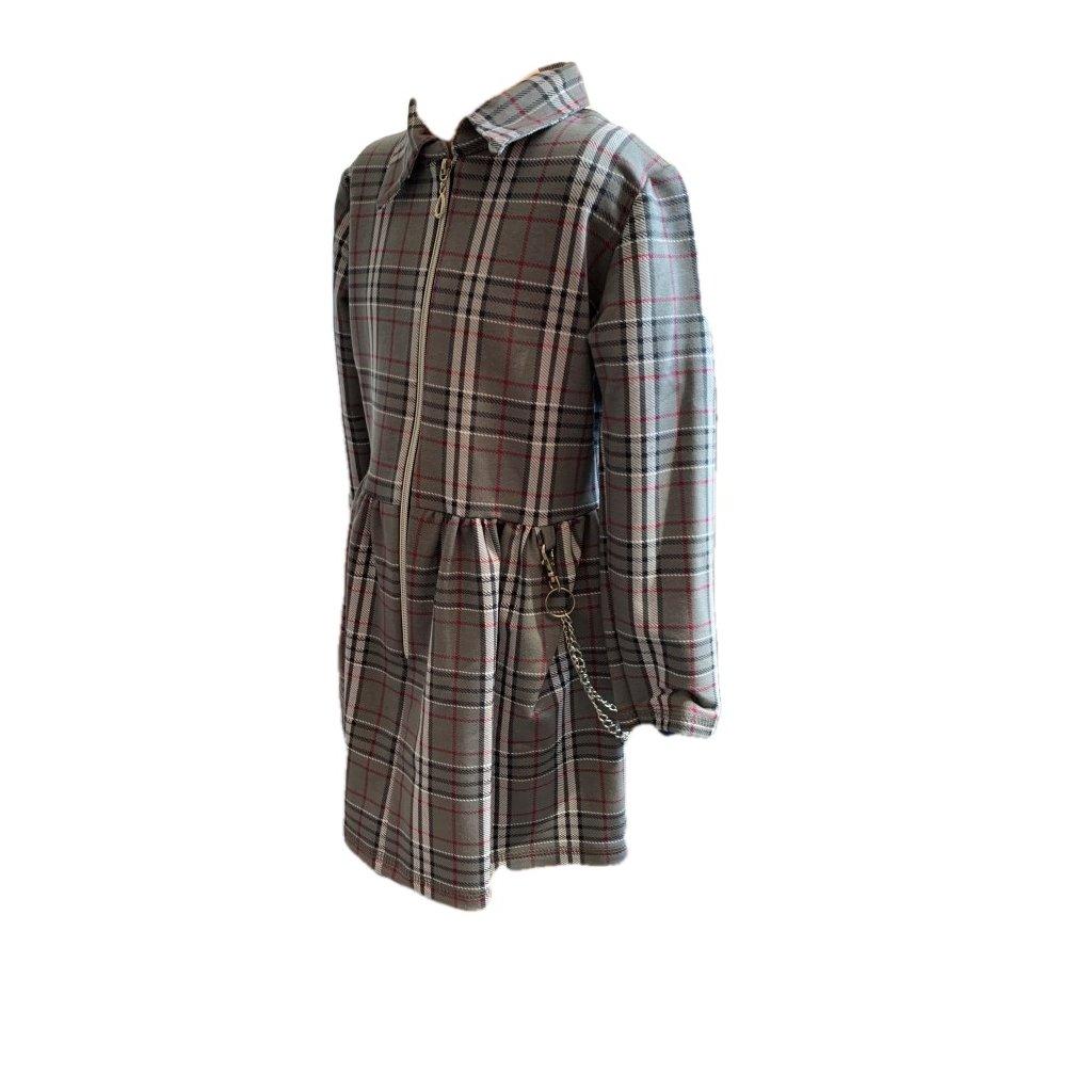 Dievčenské šaty káro-zips v predu (Farba Šedá, Veľkosť 128)