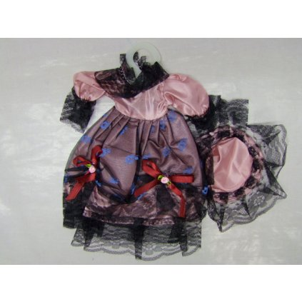 Šaty + klobúk pre bábiky (Farba Ružová, Veľkosť Neurčená)