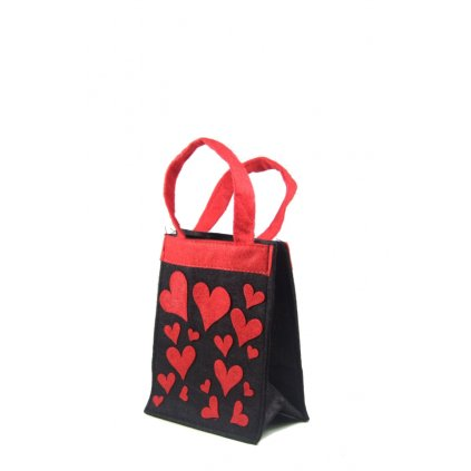 Látková taška - srdiečka (Farba Čierna, Veľkosť Neurčená)