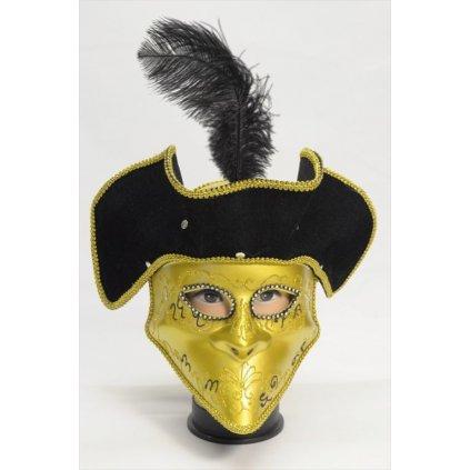 Trblietavá maska s klobúkom – pánska (Farba Strieborná, Veľkosť Neurčená)